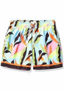 "Maaji Men's Printed Elastic Waist Mid Length Swimsuit Trunks 6"" Inseam"