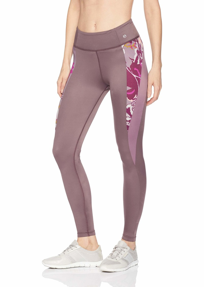 Maaji Women's Feisty Solid Mid Rise 7/8th Legging with Contrast Panel