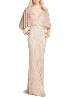 Women's MAC Duggal Beaded Cape Sleeve Evening Gown