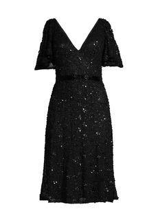 Mac Duggal Butterfly-Sleeve Sequin A-Line Dress