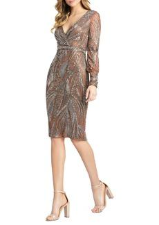 Women's MAC Duggal Beaded Long Sleeve Midi Cocktail Dress