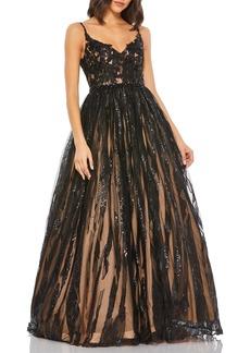 Women's MAC Duggal Floral Applique Tulle Ballgown