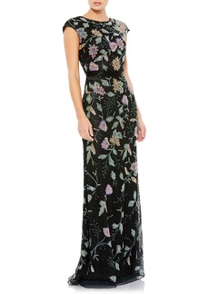 Women's MAC Duggal Floral Beaded Sheath Gown