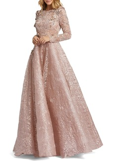 Women's MAC Duggal Floral Lace Long Sleeve A-Line Gown
