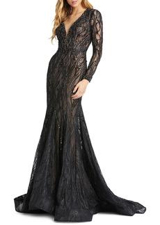 Women's MAC Duggal Long Sleeve Lace Beaded Mermaid Gown