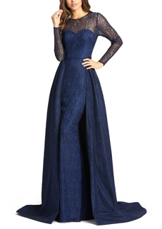 Women's MAC Duggal Long Sleeve Lace Column Gown With Overskirt