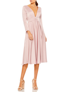 Women's MAC Duggal Long Sleeve Plunge Neck Cocktail Midi Dress