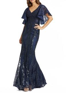 Women's MAC Duggal Sequin Flutter Sleeve Evening Gown