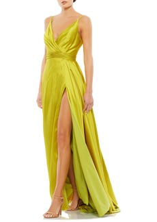 Women's MAC Duggal Wrap Front Pleated Satin Gown