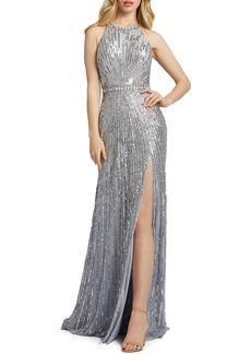 Mac Duggal Women's Macduggal Starburst Sequin Halter Neck Sheath Gown