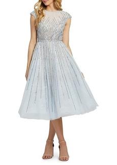 MAC Embellished Cap-Sleeve Midi Flare Dress