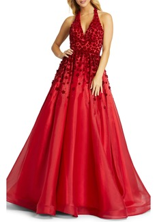 Mac Duggal Floral Appliqué Beaded Halter Neck Backless Gown