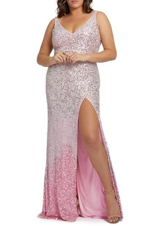 Mac Duggal Ombré Sequin Prom Dress with Train (Plus Size)