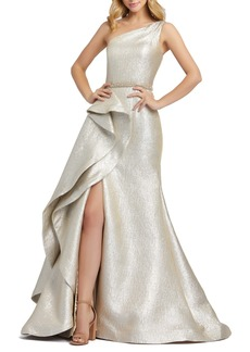 Mac Duggal One-Shoulder Ruffle Metallic Mermaid Gown