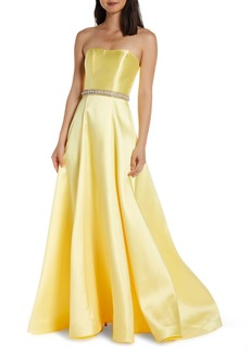 Mac Duggal Strapless A-Line Prom Dress with Crystal Embellished Waist