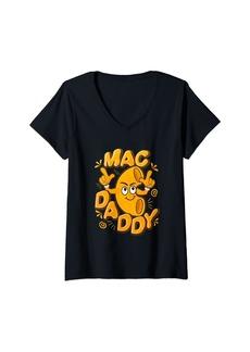 Womens Mac Daddy Shirt Funny Mac N Cheese V-Neck T-Shirt