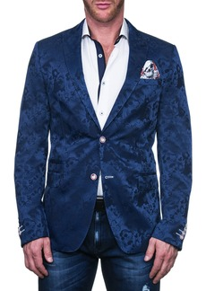 Maceoo Beethoven Blue Abstract Shapes Two Button Notch Lapel Blazer