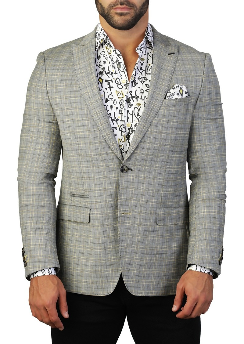Maceoo Beethoven Check Two Button Tailored Fit Suit Separate Blazer