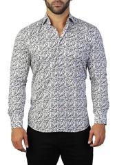 Maceoo Fibonacci Caricature Print Tailored Fit Dress Shirt