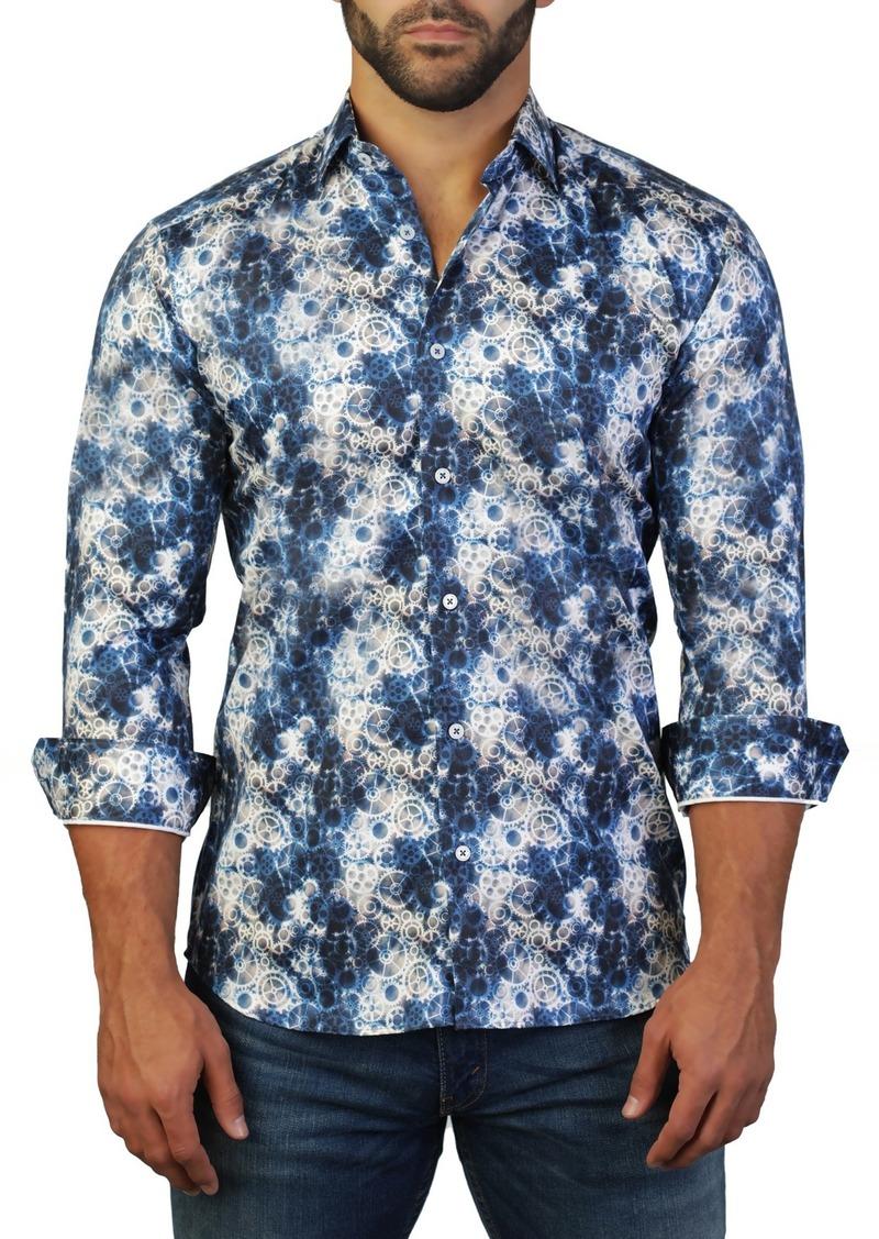Maceoo Fibonacci Clock Print Tailored Fit Dress Shirt