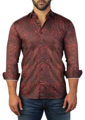 Maceoo Fibonacci Connected Dot Print Tailored Fit Dress Shirt