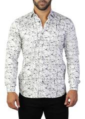Maceoo Fibonacci Crackle Print Tailored Fit Dress Shirt