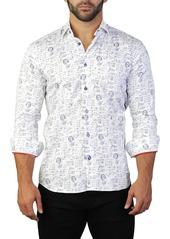 Maceoo Fibonacci Einstein Print Tailored Fit Dress Shirt