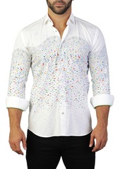 Maceoo Fibonacci Fish Print Tailored Fit Dress Shirt