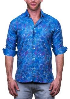 Maceoo Fibonacci Honeycomb Print Tailored Fit Dress Shirt