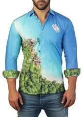 Maceoo Fibonacci Island Print Tailored Fit Dress Shirt