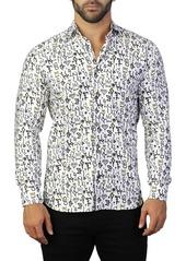 Maceoo Fibonacci King Print Tailored Fit Dress Shirt