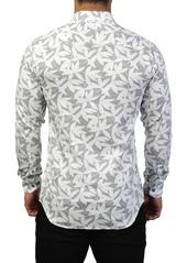 Maceoo Fibonacci Leaf Print Tailored Fit Dress Shirt