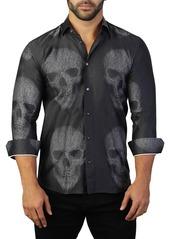 Maceoo Fibonacci Skull Print Tailored Fit Dress Shirt