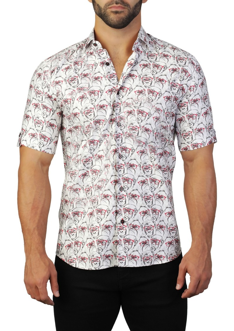 Maceoo Galileo Short Sleeve Monkey Print Tailored Fit Dress Shirt