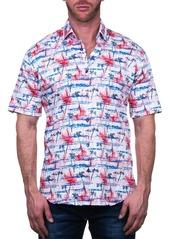Maceoo Galileo Short Sleeve Palm Tree Print Tailored Fit Dress Shirt