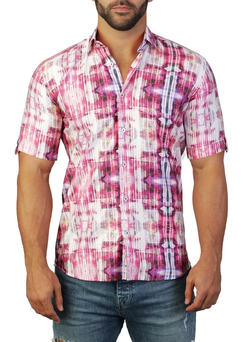 Maceoo Galileo Short Sleeve Print Tailored Fit Dress Shirt
