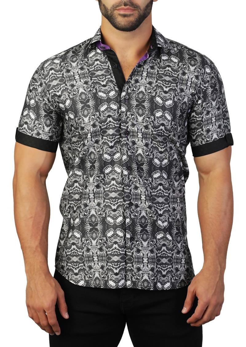 Maceoo Galileo Short Sleeve Teeth Print Tailored Fit Dress Shirt