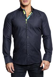 Maceoo Einstein Brickblocks Black Contemporary Fit Button-Up Shirt