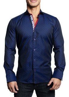 Maceoo Einstein Crossnew Blue Contemporary Fit Button-Up Shirt