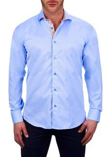 Maceoo Einstein Double Line Blue Button-Up Shirt