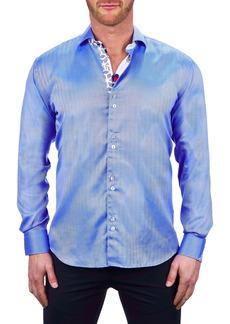 Maceoo Einstein Herringbone Blue Button-Up Shirt