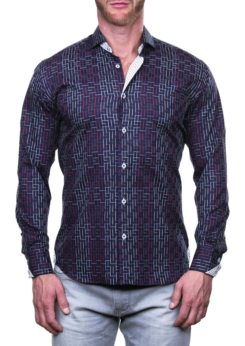 Maceoo Einstein Mosaique Red Regular Fit Button-Up Shirt