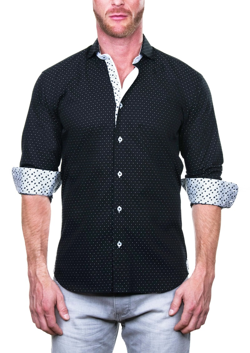 Maceoo Einstein Regular Fit Bea Black Button-Up Shirt