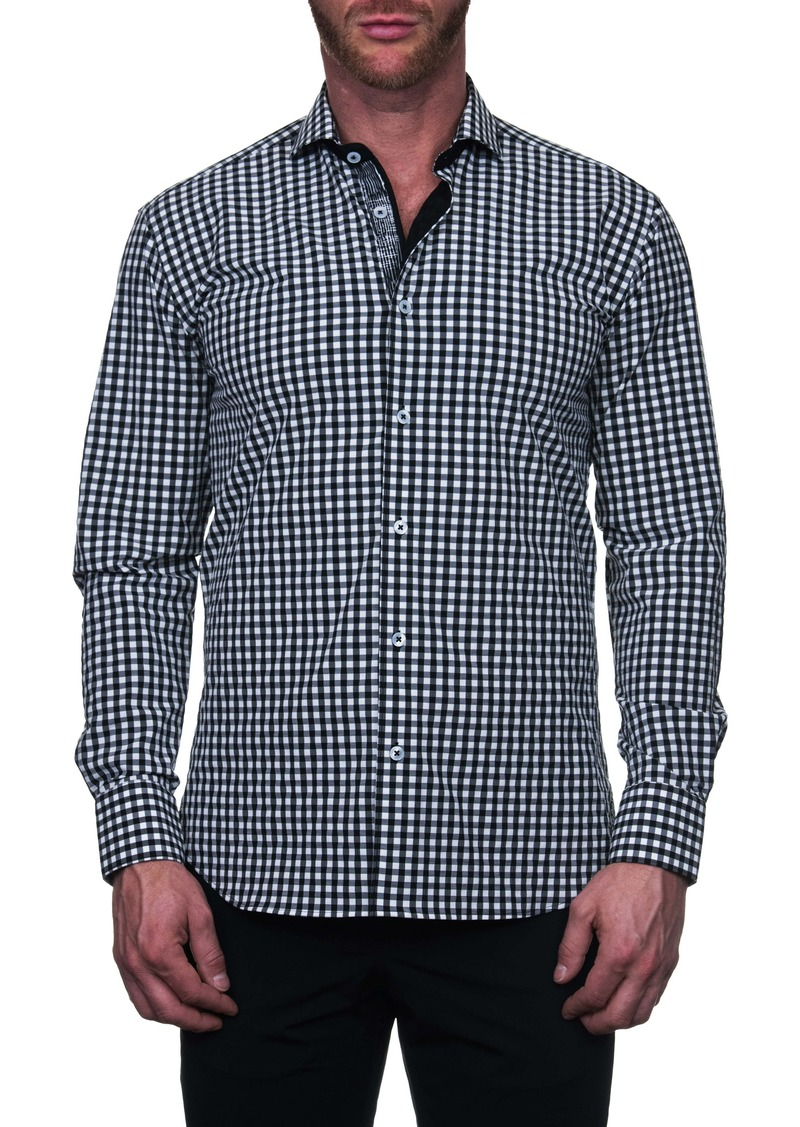 Maceoo Einstein Regular Fit Black Check Button-Up Shirt
