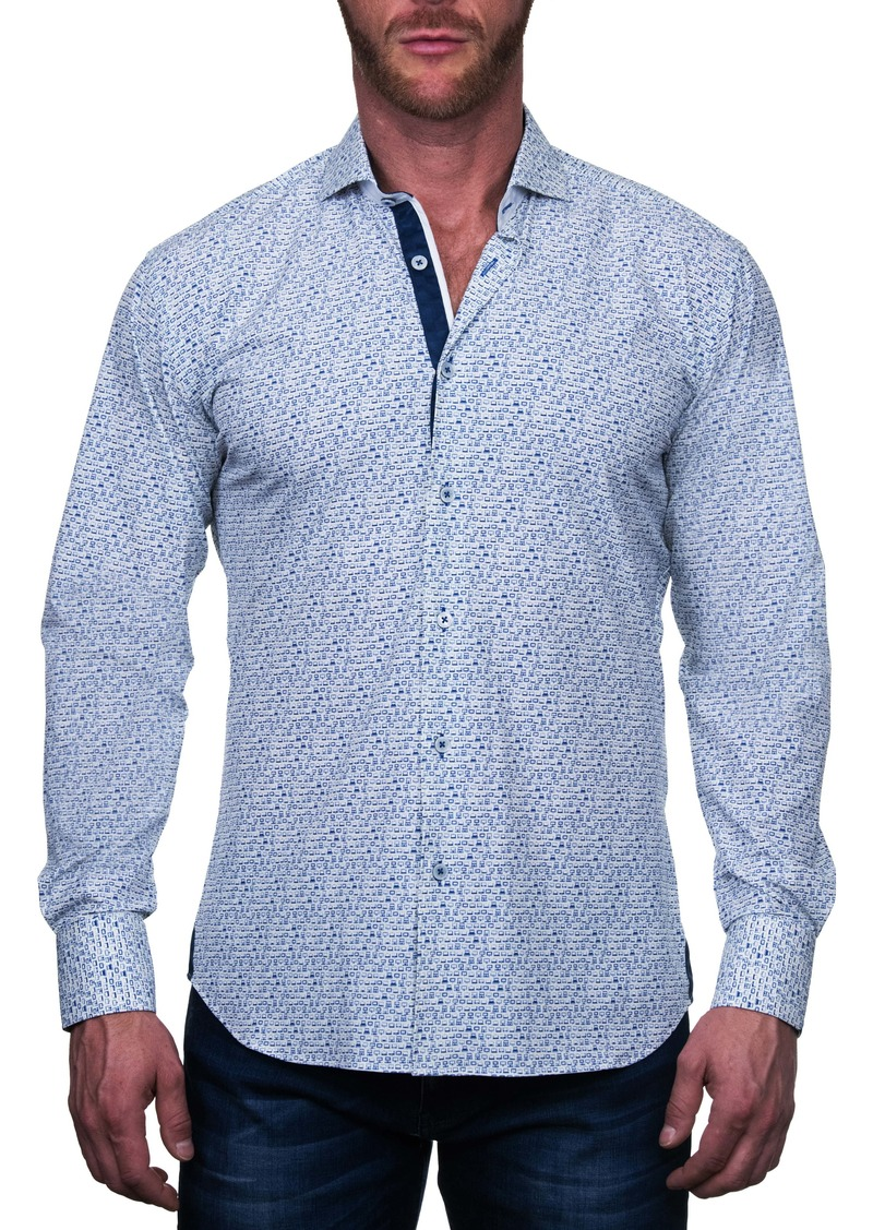 Maceoo Einstein Regular Fit Computer White Button-Up Shirt