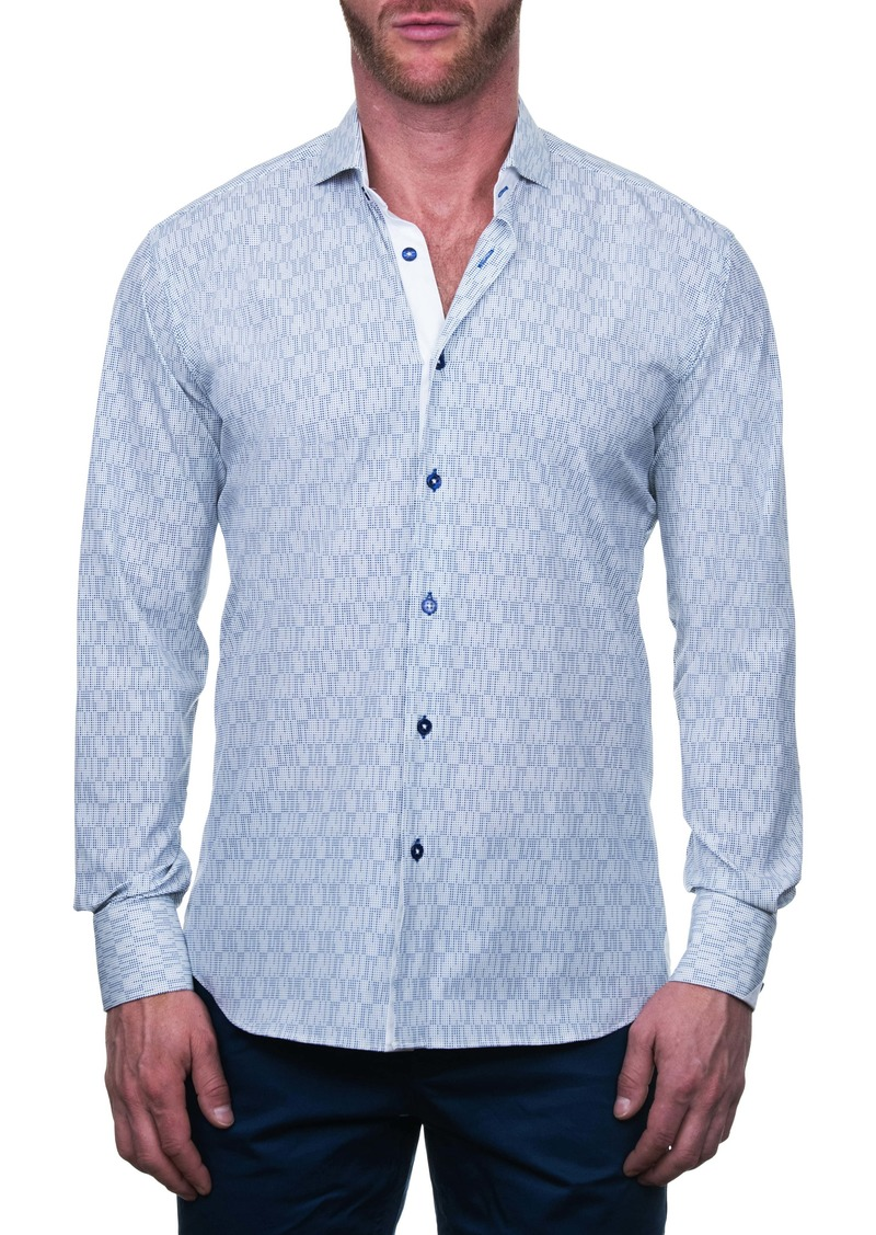 Maceoo Einstein Regular Fit Line Dot Button-Up Shirt