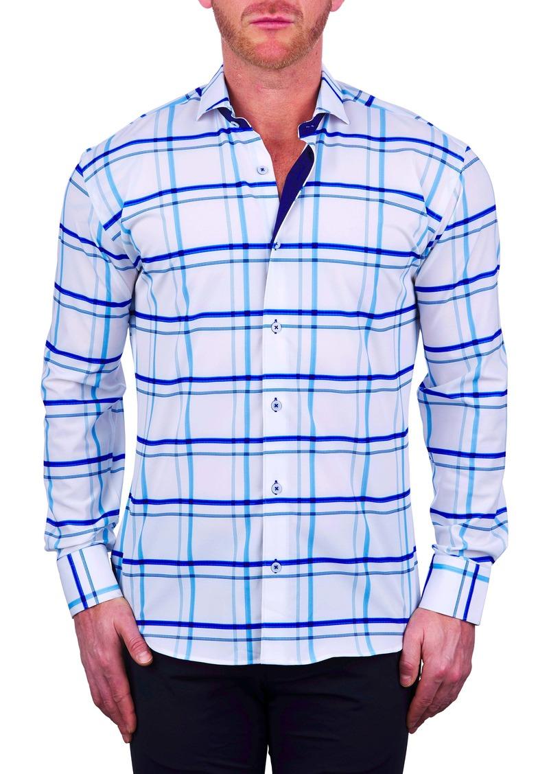 Maceoo Einstein Regular Fit Plaid Stretch Button-Up Shirt
