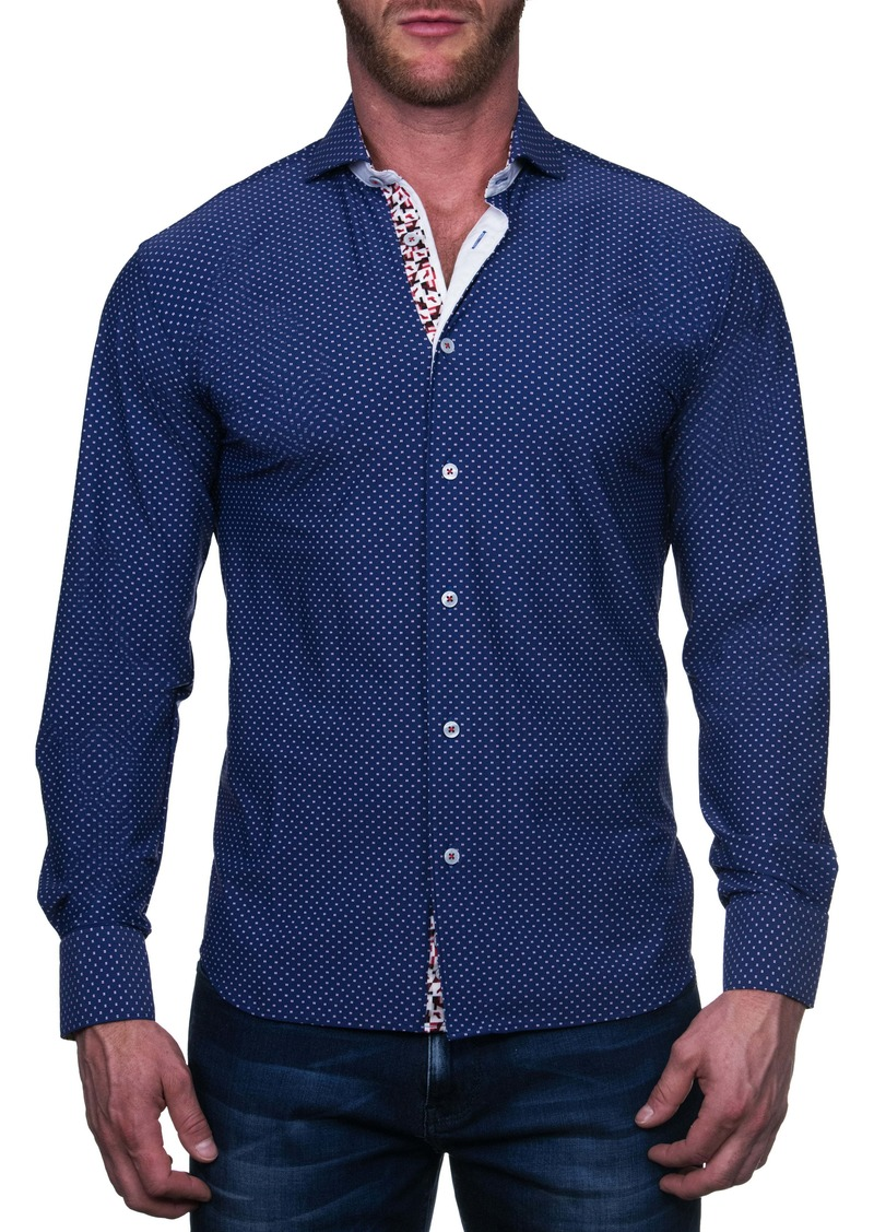 Maceoo Einstein Regular Fit Square Blue Button-Up Shirt