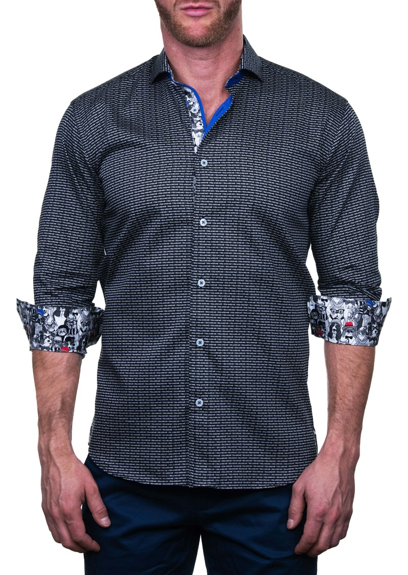 Maceoo Einstein You and Me Black Regular Fit Button-Up Shirt