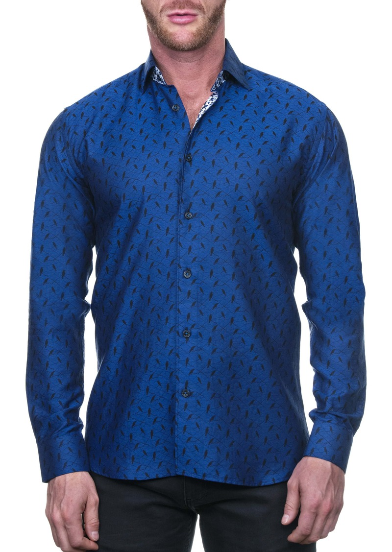 Maceoo Fibonacci Calmbird Black Regular Fit Button-Up Shirt